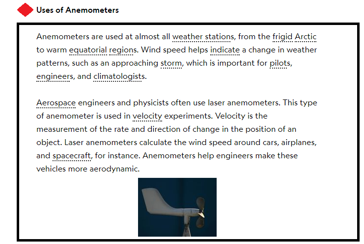 uses of Anemometers